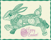 Cute Zen Tangle Stylized Easter Bunny, Vector Illustration Stock Images
