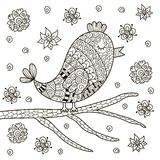 Cute zentangle bird sitting on branch for coloring book Stock Photo