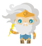 Cute zeus jupiter greek roman god of lighting. Tiny happy Stock Image