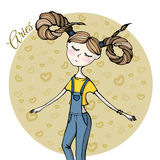 Cute zodiac sign Aries Royalty Free Stock Image