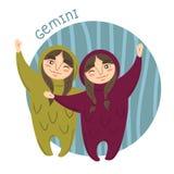 Cute zodiac sign - Gemini. Vector illustration. vector illustration