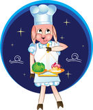Cute zodiac sign - Libra. Scales sign zadiaka as chef who decides that he cook Royalty Free Illustration