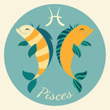 Cute zodiac signs icon. Pisces. Cute zodiac signs icon. Hand-drawn style. Pisces Stock Photography