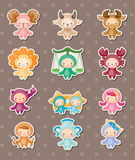 Cute zodiac stickers Royalty Free Stock Images