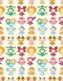 Cute zodiac symbols seamless pattern royalty free stock photography