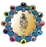 Cute Zodiac Wheel  with tiger Stock Photos