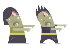 Cute Zombie Couple. A cute male and female zombie character Stock Image