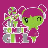 Cute zombie girl with colorful candies  cartoon illustration for halloween card design. Wallpaper and kid t-shirt design Royalty Free Stock Photos
