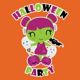 Cute zombie girl with her friends on orange background  cartoon illustration  Royalty Free Stock Photo