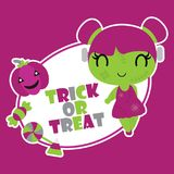 Cute zombie girl with trick and treat text  cartoon illustration for halloween card design. Wallpaper and kid t-shirt design Stock Photo