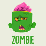 Cute Zombie Head Cartoon Character. Halloween Zombie growling and yelling vector illustration. Royalty Free Stock Photography