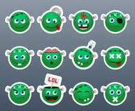 Cute zombie smile stickers. Set of 12 cute zombie smile stickers stock illustration