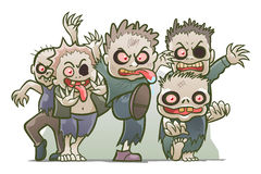Cute zombies. Group of cartoon funny zombies  on white Stock Images