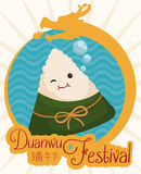 Cute Zongzi in Button with a Dragon for Duanwu Festival, Vector Illustration. Cute zongzi underwater in round button with dragon form and bubbles around it for Stock Image