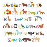 Cute zoo alphabet with animals in cartoon style. Vector illustration Stock Photography