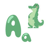 Cute zoo alphabet with cartoon animal crocodile isolated on white background and funny letter A wildlife learn Royalty Free Stock Photos