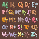 Cute zoo alphabet with cartoon animals  and funny letters wildlife learn typography cute language vector Stock Photo
