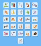 Cute zoo alphabet with cartoon animals funny letters wildlife learn typography font language vector illustration. vector illustration