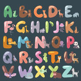 Cute zoo alphabet with cartoon animals isolated and funny letters wildlife learn typography cute language vector Royalty Free Stock Images