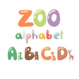 Cute zoo alphabet with cartoon animals isolated and funny letters wildlife learn typography cute language vector Stock Photography