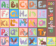 Cute zoo alphabet with cartoon animals isolated and funny letters wildlife learn typography cute language vector Royalty Free Stock Image