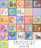 Cute zoo alphabet with cartoon animals isolated and funny letters wildlife learn typography cute language vector Stock Image