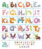 Cute zoo alphabet with cartoon animals isolated on white background and funny letters wildlife learn typography cute. Language vector illustration. Nature wild Stock Photo