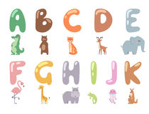 Cute zoo alphabet with cartoon animals  on white background and funny letters wildlife learn typography cute. Language vector illustration. Nature wild study Royalty Free Stock Photos