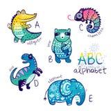 Cute zoo alphabet drawing in a chalk style. Hand drawn illustration. Cute animal alphabet. Funny cartoon animals - alligator, bear, chameleon, dino and elephant royalty free stock photo