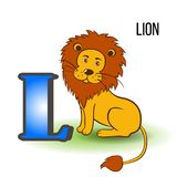 Cute Zoo alphabet L with cartoon lion, wild kid animal vector illustration funny cat isolated on background, Education. For childrens, preschool, ABC poster for Royalty Free Stock Image