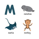 Cute zoo alphabet in .M letter. Funny cartoon animals: manatee, manta, monkey. Alphabet design in a colorful style.  illustration for children Stock Photo