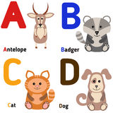 Cute zoo alphabet in vector. A, b, c, d Stock Image