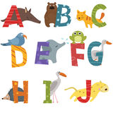 Cute zoo alphabet. Cute vector zoo alphabet. Funny cartoon animals Royalty Free Illustration