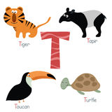 Cute zoo alphabet. Cute vector zoo alphabet. Funny cartoon animals: tiger, tapir, toucan, turtle Stock Illustration