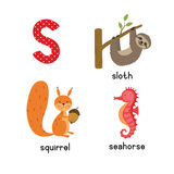 Cute zoo alphabet in vector.S letter. Funny cartoon animals: seahorse, squirrel, sloth. Stock Photos
