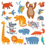 Cute zoo animals stock illustration
