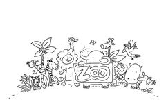 Cute zoo animals. Vector illustration, lineart hand drawing royalty free illustration