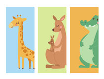 Cute zoo cartoon animals cards funny wildlife learn cute language and tropical nature safari mammal jungle tall Royalty Free Stock Photography