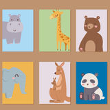 Cute zoo cartoon animals cards funny wildlife learn cute language and tropical nature safari mammal jungle tall Royalty Free Stock Images