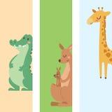 Cute zoo cartoon animals cards funny wildlife learn cute language and tropical nature safari mammal jungle tall Stock Image