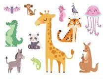 Free Cute Zoo Cartoon Animals Isolated Funny Wildlife Learn Cute Language And Tropical Nature Safari Mammal Jungle Tall Stock Images - 92075794