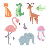 Cute zoo cartoon animals isolated funny wildlife learn cute language and tropical nature safari mammal jungle tall Royalty Free Stock Photo