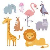 Cute zoo cartoon animals isolated funny wildlife learn cute language and tropical nature safari mammal jungle tall Stock Images