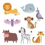 Cute zoo cartoon animals isolated funny wildlife learn cute language and tropical nature safari mammal jungle tall Stock Photo
