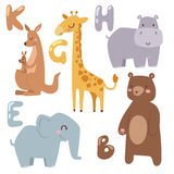 Cute zoo cartoon animals isolated funny wildlife learn cute language and tropical nature safari mammal jungle tall. Characters vector illustration. Nature wild stock illustration