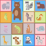 Cute zoo cartoon animals isolated funny wildlife learn cute language and tropical nature safari mammal jungle tall Royalty Free Stock Image