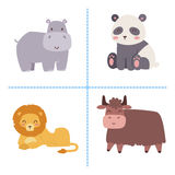 Cute zoo cartoon animals isolated funny wildlife learn cute language and tropical nature safari mammal jungle tall. Characters vector illustration. Nature wild Royalty Free Stock Photography
