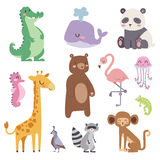 Cute zoo cartoon animals isolated funny wildlife learn cute language and tropical nature safari mammal jungle tall. Characters vector illustration. Nature wild Royalty Free Stock Images