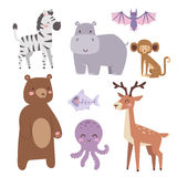 Cute zoo cartoon animals isolated funny wildlife learn cute language and tropical nature safari mammal jungle tall. Characters vector illustration. Nature wild Royalty Free Stock Image