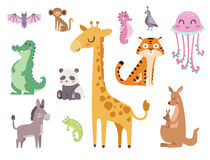 Cute zoo cartoon animals isolated funny wildlife learn cute language and tropical nature safari mammal jungle tall. Characters vector illustration. Nature wild Stock Images